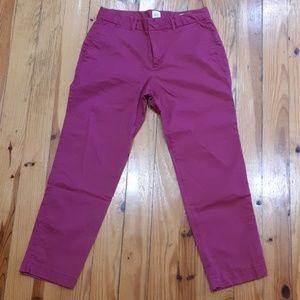 Wine colored Gap City Slim Crop Pants